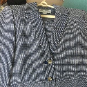 Navy and grey St. John collection skirt suit